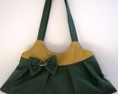 ON SALE -Deep Green Tote Bag, Shoulder bag,  Vegan Bag, Small Tote