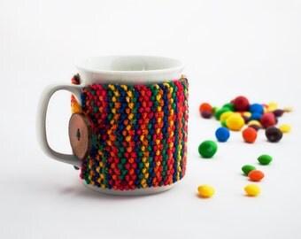 Cup Cozy Warm Rainbow, Knitted Mug Cozy, Coffee Cozy, Tea Cup Cozy, Handmade Wooden Button, Coffee Cozy Sleeve, Warmer, Winter, Gift