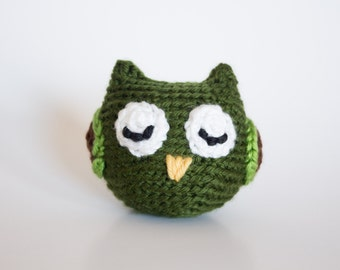 Crocheted Owl - Adorable Little Dark Green, Amigurumi Stuffed Animal, Woodland Owl - Perfect for Babies and Toddlers - Fun Stocking Stuffer