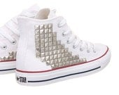 Studded Converse, Converse high top with Silver Pyramid Studs by CUSTOMDUO on ETSY