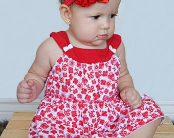 Red Baby headband, newborn girl fancy satin fabric headband, christmas bow
