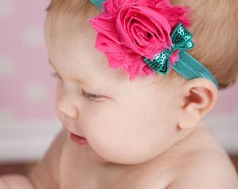 Chiffon and sequin Headband  Newborn Baby and Toddler girl hair bow shabby chic