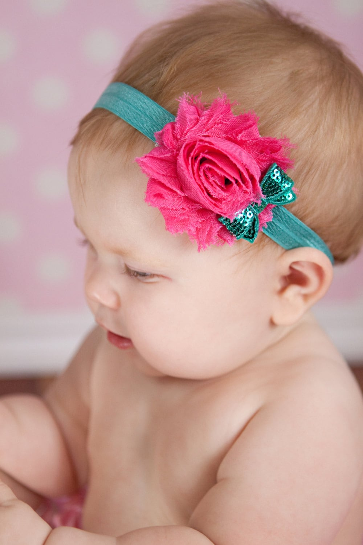 Chiffon and sequin Headband Newborn Baby and Toddler girl