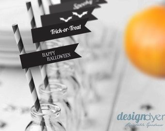 Printable Halloween Drink Flags or Cupcake Toppers Black & White INSTANT DOWNLOAD