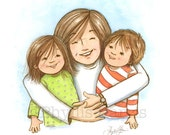 Wall art - Mom hugs are the best! - Mother and children art - PhyllisHarrisDesigns