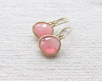 Watermelon Pink Glass Earrings, Modern Bridal Dainty Earrings