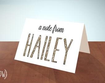 Printable Stationery note cards, personalized stationery custom, glitter name, blank card - DIY digital PDF Printable Wisdom