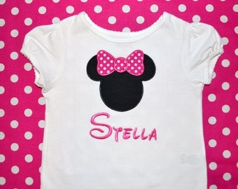 Personalized Minnie Mouse Birthday Appliqued Shirt or Bodysuit - pink & white polka dot