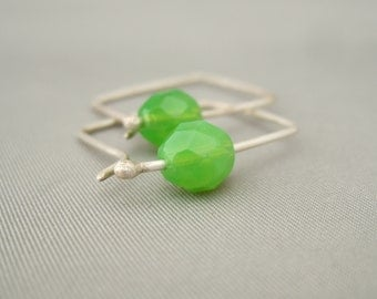 Lime Green Square Hoop Earrings. Sterling Silver Opaque Czech Glass Modern Contemporary Earrings.