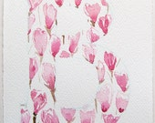 Blossomed magnolia letter B. Watercolor painting original. Small watercolor. Personalized gifts. Alphabet, letters painting.