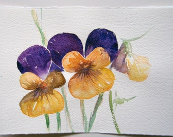 Pansies watercolor art. Watercolor painting original. Floral painting. Spring floral art. Home decor. Kitchen art.