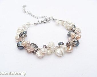 Multicolor freshwater pearl bracelet with crystal on silk thread, black, white, peach, pink