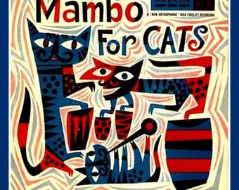 Fridge Magnet vintage image Mambo For Cats red and blue jazz hot