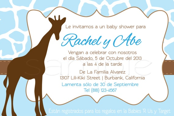 items similar to spanish giraffe baby shower invitations on etsy