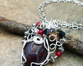 Wire wrap Jewelry Natural Stone Brecciated Jasper Cab Pendant with Crystal Glass Metal Beads Necklace Romantic Boho Gifts Under 15