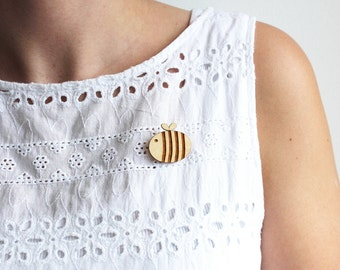 Laser Cut Wooden Bumble Bee Brooch