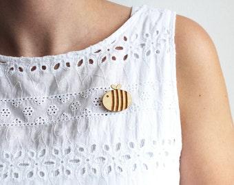 Laser Cut Wooden Bumble Bee Brooch