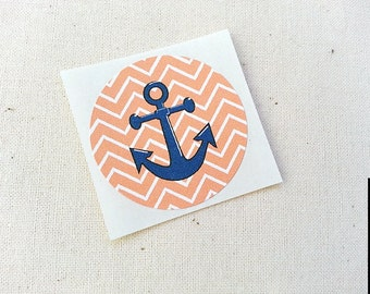 "Orange Tangerine Chevron Anchor Stickers Round Labels Envelope Seals 1.5"" Stickers / Nautical Theme Birthday Party Invitations Favors"