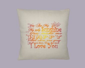 You are my Sunshine Lyrics,  HANDMADE16x16 pillow cover -- Choice of fabrics and print color(s)