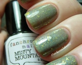 Misty Mountains Nail Polish - sage green with iridescent shimmer and gold glitter