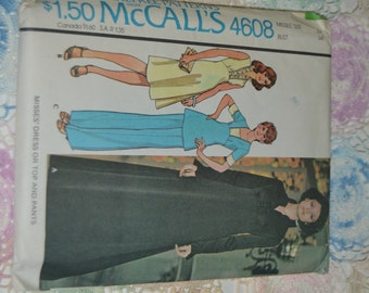 McCalls 4608 Misses Dress or Top and Pants Size 12 Bust 34 - UNCUT