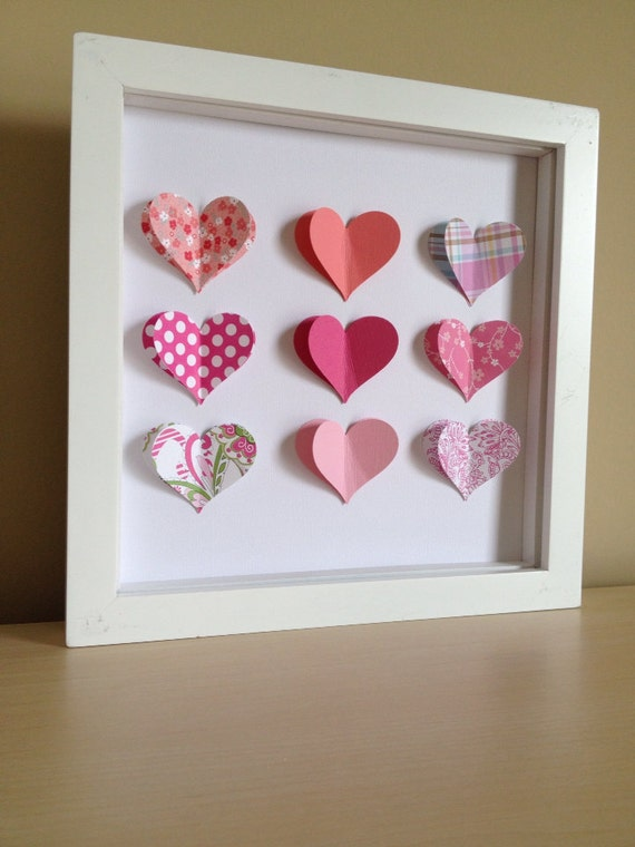 Pink Heart, 3D Paper Art - perfect for a new baby or little girl's room