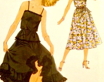 Vintage 70s Simplicity 8688 Pattern Size 10 Bust 32 1/2 Two Piece Dress with Top and Skirt Variations with Tie Belt Uncut Factory Folds
