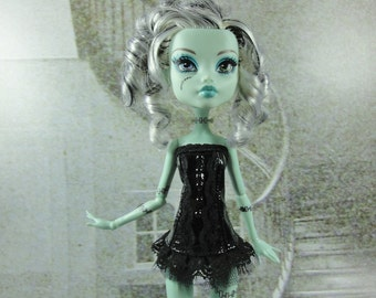 Gothic burlesque black corset hand made fits Monster High doll
