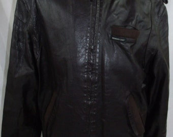 Vintage 80s 1980s Members Only Brown Leather Cafe Jacket Size L.