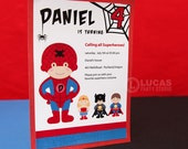 Spider Kid Birthday Party - DIY PRINTABLE Invitation Card - H5a