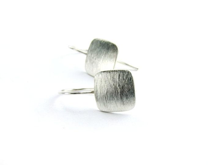 Matte Texture Silver Earrings Small Short Square Drop Earrings, Modern Minimalist Design Jewelry, Eco Friendly Sterling Dangles