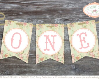 INSTANT DOWNLOAD Printable birthday banner pennants ONE  for high chair shabby chic decoration vintage first baby girl | pdf File, You Print