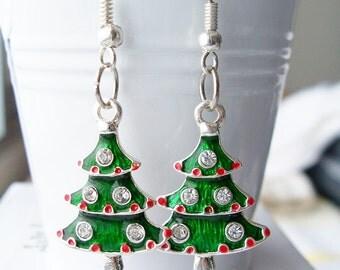 Metal rhinestone Christmas tree earrings - Christmas tree jewelry - festive green tree earrings - festive jewelry - metal charm earrings