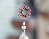 Dusty Pink Feather Dreamcatcher Necklace