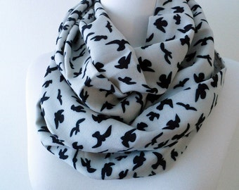 Bird pattern Infinity scarf, Circle Scarf, Loop Scarf, Scarves, Shawls, Spring - Fall - Winter - Summer fashion Sale