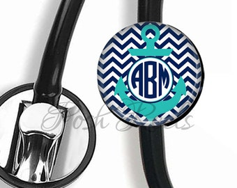 Stethoscope ID tag Personalized, Personalized Navy and Teal Anchor Chevron Monogram Stethoscope ID tag - 0086-S