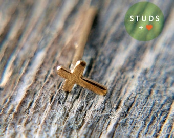 CARTILAGE or TRAGUS Vintage French Cross 24k gold plated/ cartilage earring sterling tragus gold tragus earring tragus cross cartilage gold