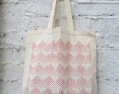 Tote bag: 'Fan' design hand printed on cotton tote bag (red)