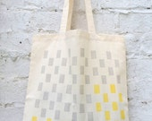 Tote bag: 'Uno' grey/yellow cotton tote bag, hand printed