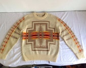 PENDLETON Sweater Vintage 70's/ Classic NAVAJO Chief Joseph High Grade Western Wear 100% Virgin Wool Sweater/ Medium Large USA Made