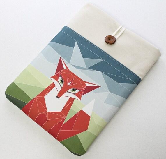 Custom Laptop Case, Woodland fox front pocket, Chromebook Pixel case, padded laptop sleeve, orange blue, Carbon X1 sleeve, Dell case, 15.6