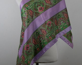 Vintage 1970s Oblong Exotic Print Scarf, Made in Japan