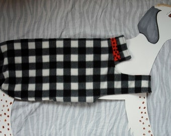 Reversible Fleece Dog Coat — Classic Buffalo Plaid in black and white with red and black reversible lining — size x-large big dog.