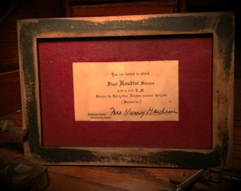 Invitation Card Sent by the Widow of Harry Houdini for his Final Seance