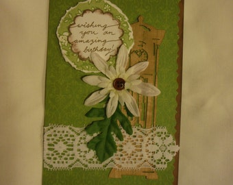Clock birthday card. Real wood grandfather clock die cut on a beautiful handmade greeting card with lace, flower, button. OOAK
