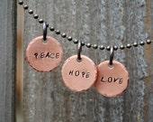 Peace Hope Love Necklace Set, Three Pendant Gift