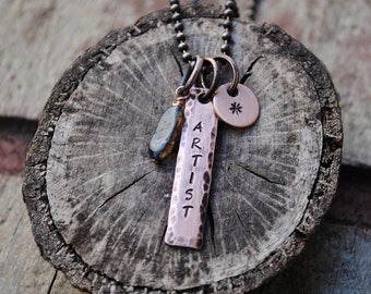Artist Necklace in Copper with Iolite and Star Drop, Affirmation Necklace