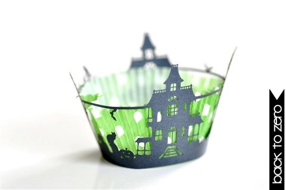 20 Haunted Mansion Halloween Laser Cut Cupcake Wrappers Wraps - 15 Colors Available