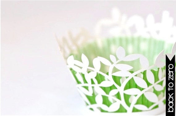 20 Leaf Leaves Laser Cut Cupcake Wrappers Wraps - 15 Colors Available