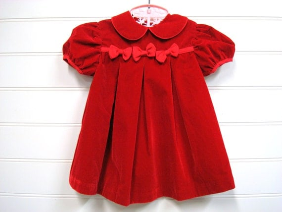 Vintage Baby Clothes Baby Girl Dress Red Velvet Dress